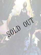 Black jabot shirt Gothic レースとサテン、スタンドカラーのブラウス