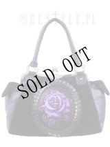 """[再入荷] Cameo bag """"PURPLE ROSE"""" Black Velvet, gothic, romantic handbag"""