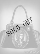 """SKELETON LADY"" hologram handbag, black velvet, gothic purse"