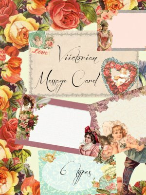 画像1: ヴィクトリアン ミニメッセージカードセット