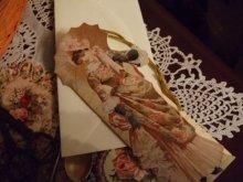 他の写真を見る1: タッセル飾り付1890's貴婦人ブックマークグリーティングカード