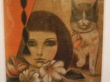 他の写真を見る1: uroko-額入り絵 「少女とネコ」