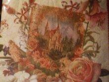 他の写真を見る1: 手紙と古城と薔薇柄のロマンチックデザインペーパーナプキン