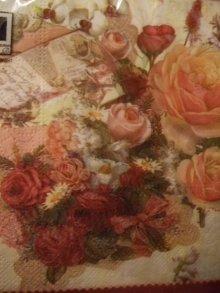 他の写真を見る3: 手紙と古城と薔薇柄のロマンチックデザインペーパーナプキン