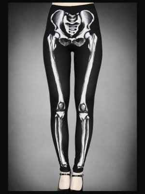 画像1: Skeleton leggings bones trousers horror pants 骨レギンス