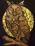 black t-shirt mechanical owl on the moon background
