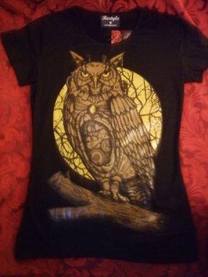 画像2: black t-shirt mechanical owl on the moon background