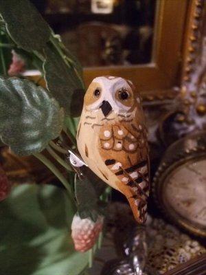 画像1: ウッデンデコ フクロウ クリップ