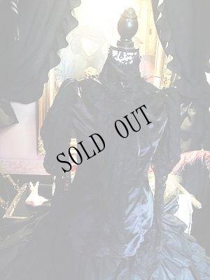 画像1:  Black jabot shirt Gothic レースとサテン、スタンドカラーのブラウス