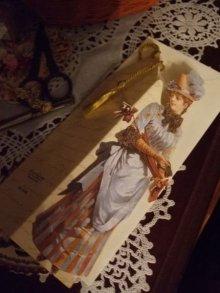 他の写真を見る2: タッセル飾り付1890's貴婦人ブックマークグリーティングカード