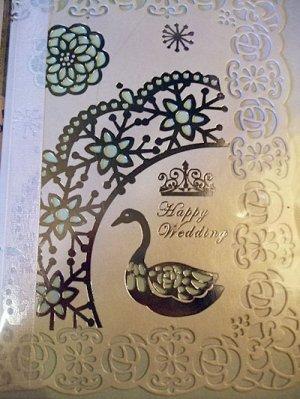 画像1: 金箔押し薔薇レース切り絵ウエディングカード