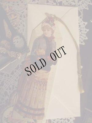 画像1: タッセル飾り付1890's貴婦人ブックマークグリーティングカード