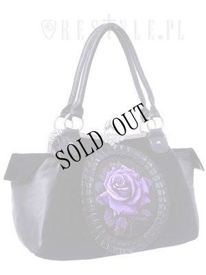 """画像2: [再入荷] Cameo bag """"PURPLE ROSE"""" Black Velvet, gothic, romantic handbag"""