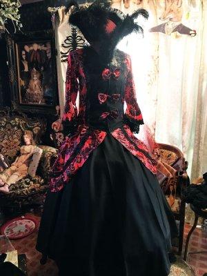 画像1: 赤×黒 姫袖 アラベスクセパレートロングドレスセット