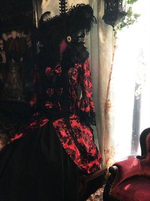 画像2: 赤×黒 姫袖 アラベスクセパレートロングドレスセット