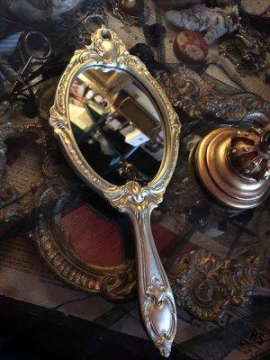 画像1: [再入荷] シャンパンゴールド ヴィクトリアンデザイン 手鏡