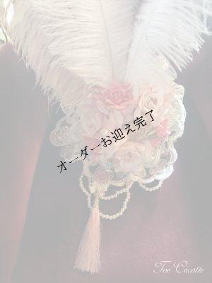 画像2: パールと薔薇にモーブピンクの羽のブライダルヘッドドレス