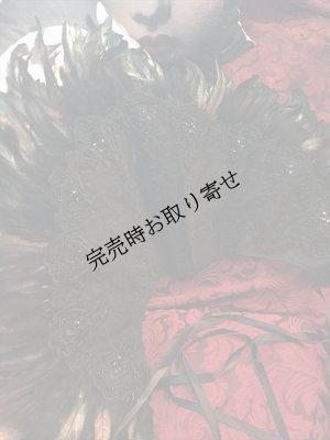 画像1: Goth&Vampire Queen Elizabeth Collar レースと羽の扇型立ち襟