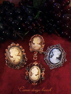 画像1: Antique design cameo style brooch カメオデザインブローチ