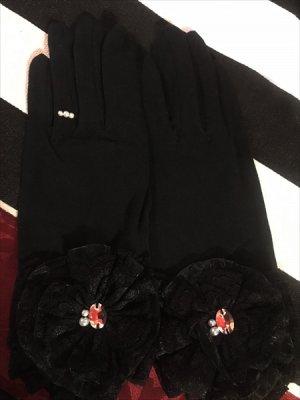 画像1: クリスタルフラワーショート手袋 日本製