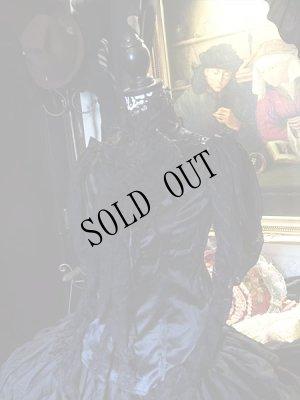 画像2:  Black jabot shirt Gothic レースとサテン、スタンドカラーのブラウス