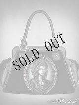 """SKELETON LADY"" hologram handbag, black velvet, gothic purse"