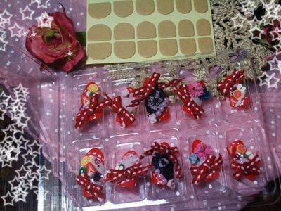 画像1: [art nail]赤いリボンと果実のラブリーポップパフェ