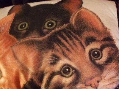 画像1: [ラスト]三匹猫のピローサイズクッション