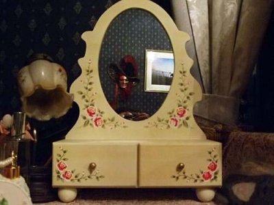 画像1: 店頭展示モデル 薔薇ペイント木製卓上ドレッサー