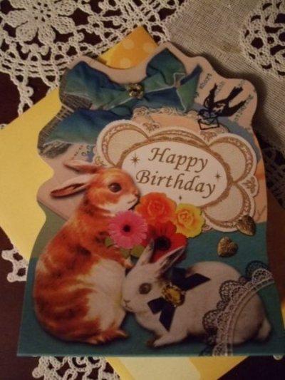 画像3: 【再入荷】メルヘンうさぎのグリーティングカードBLUE「Happy Birthday」