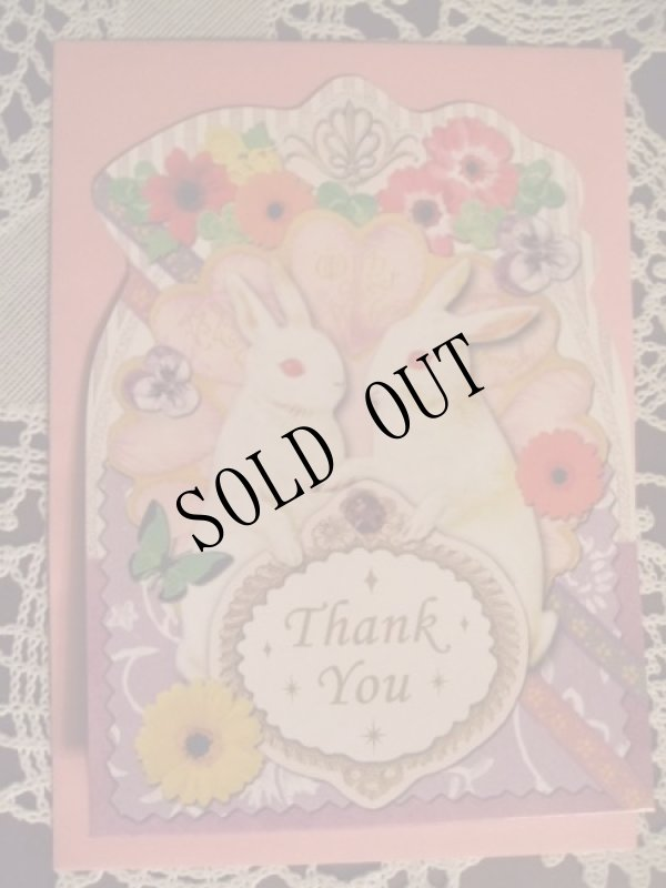 画像1: 【再入荷】メルヘンうさぎのグリーティングカードpl「Thank you」 (1)