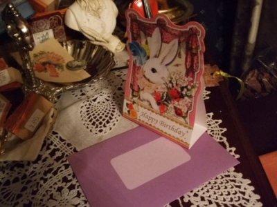 画像1: メルヘンうさぎのグリーティングカードpk「Happy Birthday」