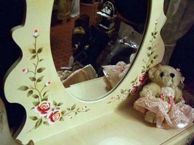 画像3: 店頭展示モデル 薔薇ペイント木製卓上ドレッサー